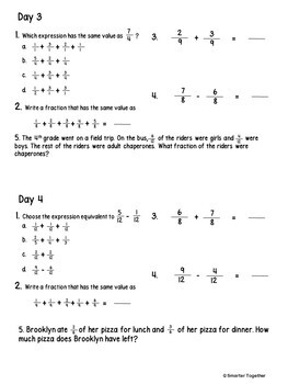 Adding and Subtracting Fractions - Focused Daily Review - 4th Grade