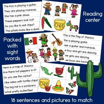 Cinco de Mayo Sentence Picture Match Reading Center