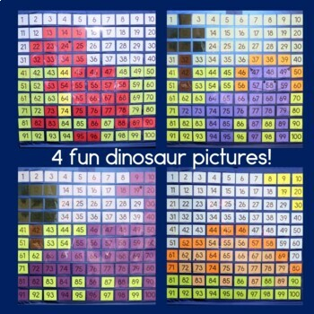Dinosaur Hundreds Pocket Charts Mystery Pictures