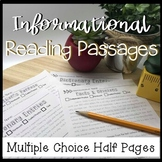 Multiple Choice/Skill Based Informational Reading Passages Set 2