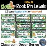 Sloth Theme Classroom Decor Book Bin Labels