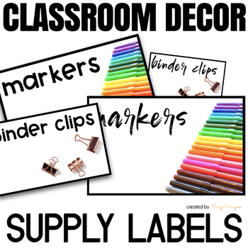 Classroom Supply Labels with Pictures EDITABLE