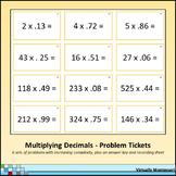 Multiplying Decimals Problem Tickets / Cards