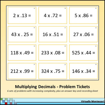 Multiplying Decimals Problem Tickets / Cards by Virtually Montessori