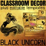 Classroom Decor with EDITABLE Templates - Black Unicorn