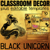 Classroom Decor with EDITABLE Templates - Black Unicorn