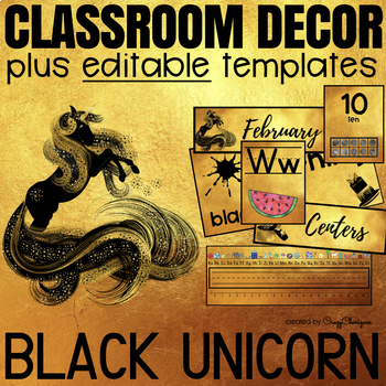Classroom Decor Bundle EDITABLE | Black Unicorn