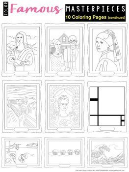 Famous paintings coloring pages | Free Coloring Pages | 350x263