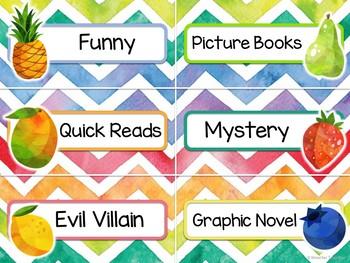 Editable Fruit Book Bin Labels - Fruity Classroom Decor
