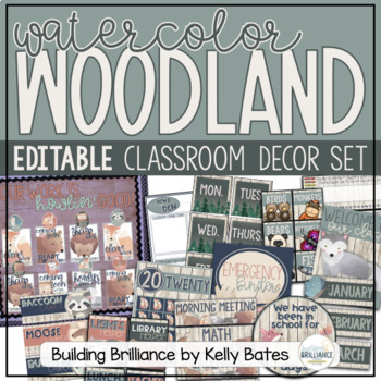 Watercolor Woodland Animals Complete Classroom Decor Set (EDITABLE!)