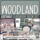 Watercolor Woodland Animals Complete Classroom Decor Bundle (EDITABLE!)
