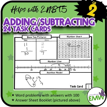 2.NBT.5 Adding and Subtracting Task Cards - Farm Animals