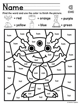 CVC Words Color by Code Activity