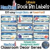 Editable Book Bin Labels - Nautical Theme Classroom Decor