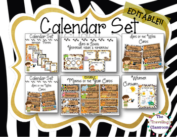 Editable Calendar Set - Jungle Zoo Safari Theme