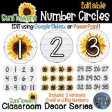 Editable Number Circles - Sunflower Theme Classroom Decor