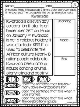December Reading Comprehension Passages