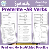 Spanish AR Preterite Verbs Worksheets Practice