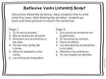 Spanish Reflexive Verbs Drawing Activity
