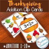 Thanksgiving Addition Task Cards Center