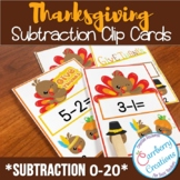 Thanksgiving Subtraction Task Cards Center