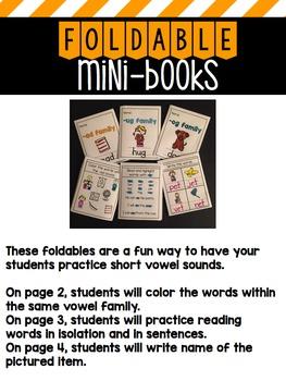 Foldable Mini-Books: Short Vowel Word Families