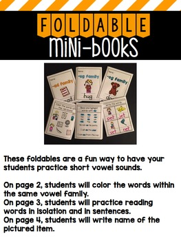 Foldable Mini-Books: Short Vowel Word Families