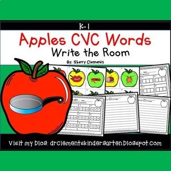Apples Write the Room (CVC Words) Set 2