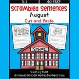 August Scrambled Sentences (Cut and Paste)