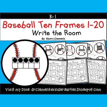 Baseball Write the Room (Ten Frames 1-20)