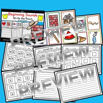 Beginning Sounds (W and H) Write the Room