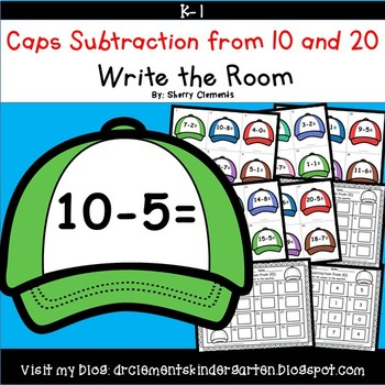 Caps Write the Room Subtraction from 10 and 20