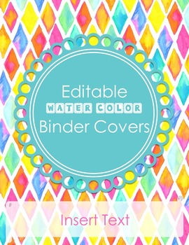 Editable Water Color Binder and Spine Covers