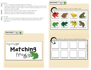 File Folder Activities for the Pond Theme