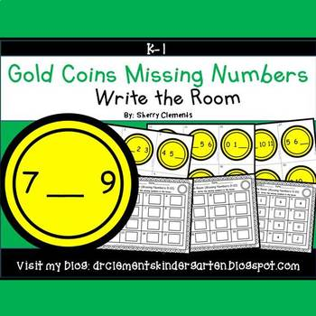 Gold Coins Write the Room (Missing Numbers 0-10)