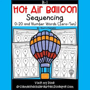 Hot Air Balloon Sequencing 0-20 and Number Words (zero-ten)
