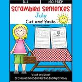 July Scrambled Sentences (Cut and Paste)