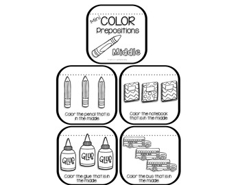 Mini Coloring Books for Prepositions - Back to School Edition | TpT