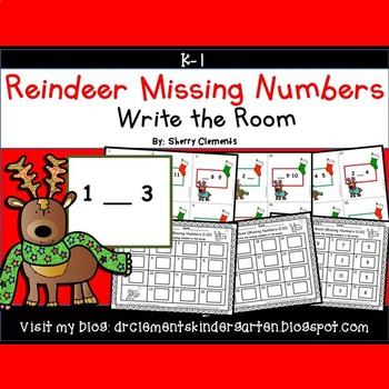 Reindeer Write the Room (Missing Numbers 0-10)