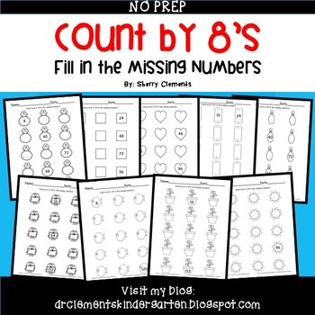 Skip Counting by 8's Fill in the Missing Numbers