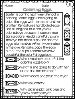 Spring Reading Comprehension Passages - 5 WH Questions