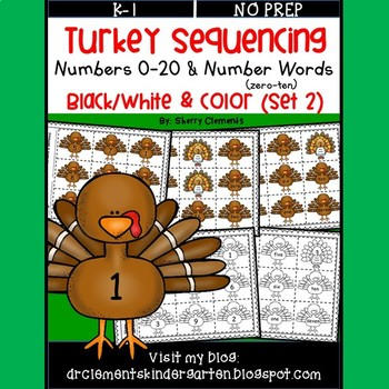 Turkey Number Sequencing 0-20 and Number Words