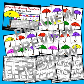 Umbrellas Write the Room (Missing Numbers 0-10)