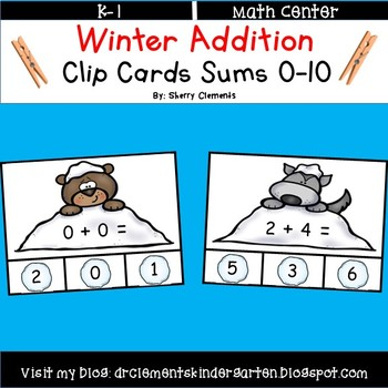 Winter Addition Clip Cards Sums 0-10