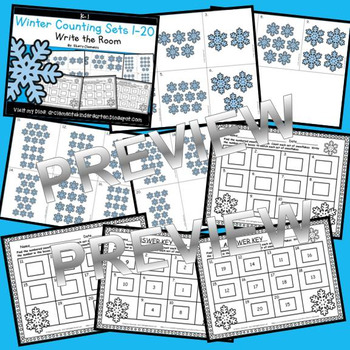 Winter Write the Room (Counting Sets 1-20)