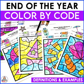 End of the Year Activity Color By Code Parts of Speech