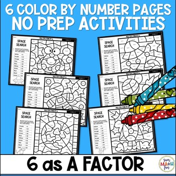 Multiplication Color by Number - Using 6 as a Factor