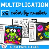 Multiplication Worksheets - Color by Number - Using 6 as a Factor