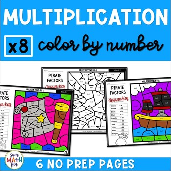 Multiplication Color by Number - Using 8 as a Factor
