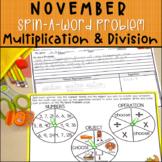 Multiplication & Division November Word Problems